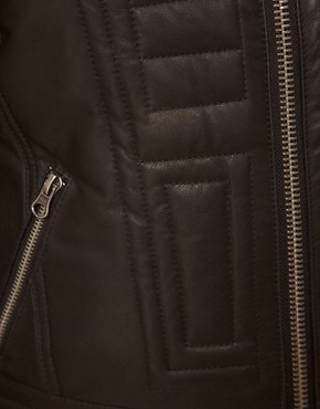 Image 3 ofASOS CURVE Exclusive Leather Jacket With Stitch Detail