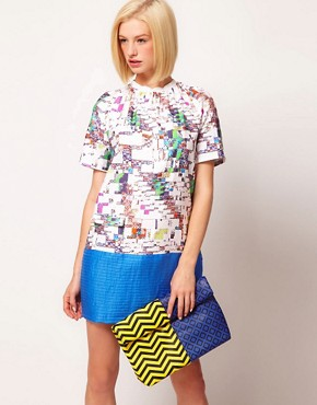 Image 3 of ASOS Print Clash Roll Top Clutch
