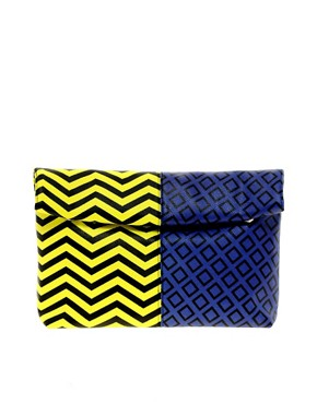 Image 1 ofASOS Print Clash Roll Top Clutch