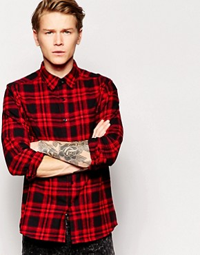 ASOS Shirt In Long Sleeve With Mid Scale Brushed Check