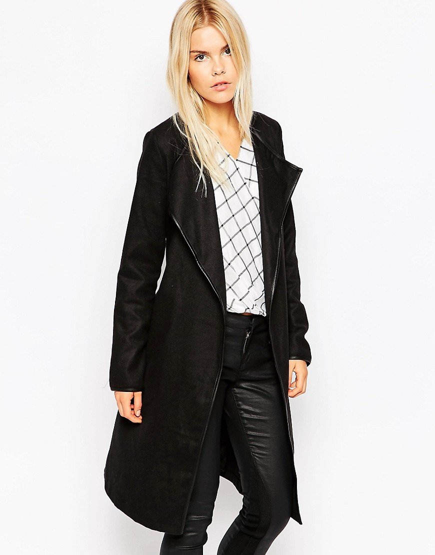 Brave Soul Tall Wrap Coat With Belted Waist