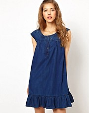 Paul and Joe Sister Denim Smock Dress with Frilled Hem