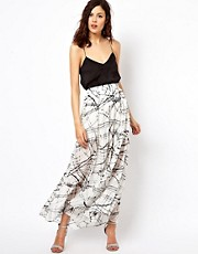 Warehouse Scribble Print Maxi Skirt