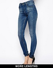 ASOS Ridley Supersoft High Waisted Ultra Skinny Jeans In Mid Stonewash