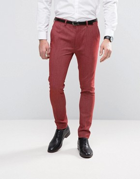 ASOS Super Skinny Suit Trousers In Red Twist