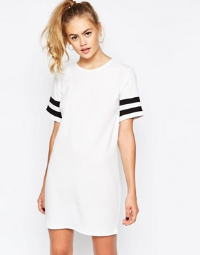 Daisy Street Shift Dress with Contrast Stripe Sleeve