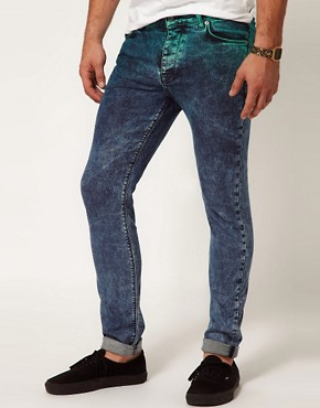 Image 1 ofASOS Skinny Jeans In Dip Dye Acid Wash