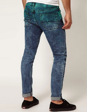 Image 2 ofASOS Skinny Jeans In Dip Dye Acid Wash
