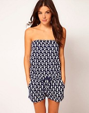 ASOS Seahorse Print Jersey Beach Playsuit
