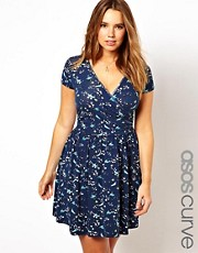 ASOS CURVE Wrap Dress In Oriental Bird Print