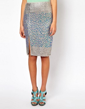 Image 4 ofASOS Pencil Skirt in Hologram Sequin