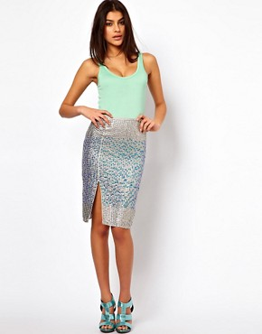 Image 1 ofASOS Pencil Skirt in Hologram Sequin