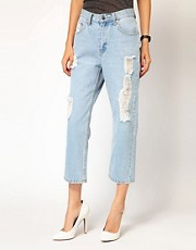 Cheap Monday High Waist Cropped Vintage Look Jeans With Distressing
