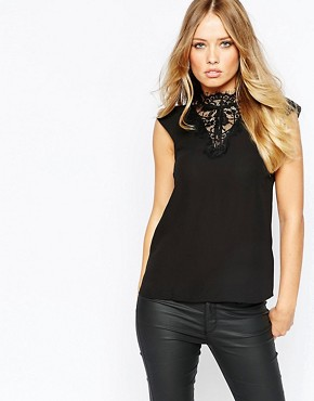 Y.A.S Faye Top with Lace Neck