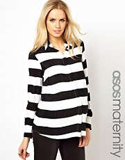 ASOS Maternity Shirt In Wide Stripe