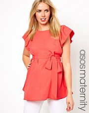 ASOS Maternity Blouse With Ruffle Sleeve And Belt