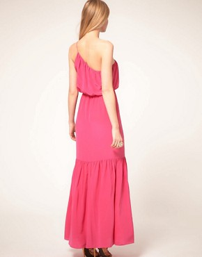 Image 2 ofHalston Heritage One Shoulder Silk Maxi Dress