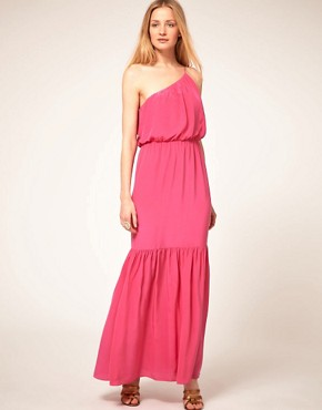 Image 4 ofHalston Heritage One Shoulder Silk Maxi Dress