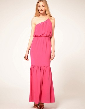 Image 1 ofHalston Heritage One Shoulder Silk Maxi Dress