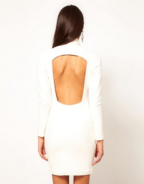 Image 2 ofAqua Bandstand Plunge Neck Open Back Pencil Dress