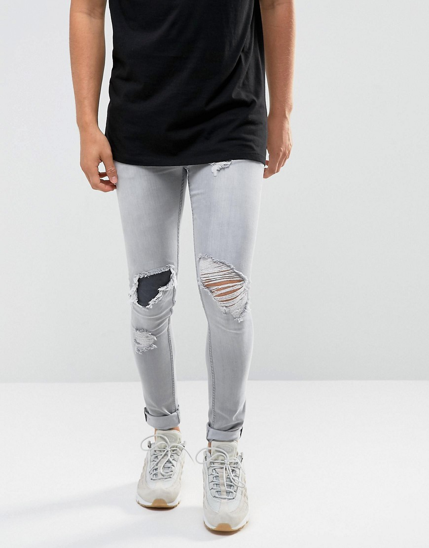 ASOS Extreme Super Skinny Jeans In Grey With Rips - Light grey