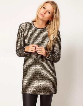 Image 1 ofASOS PU Trim Textured Tunic