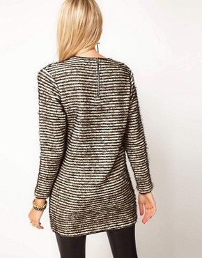 Image 2 of ASOS PU Trim Textured Tunic