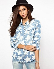 Only Star Print Denim Shirt