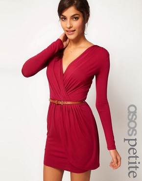 Image 1 ofASOS PETITE Exclusive Wrap Dress With Long Sleeves And Belt