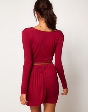 Image 2 ofASOS PETITE Exclusive Wrap Dress With Long Sleeves And Belt