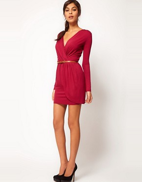 Image 4 ofASOS PETITE Exclusive Wrap Dress With Long Sleeves And Belt