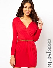 ASOS PETITE Exclusive Wrap Dress With Long Sleeves And Belt