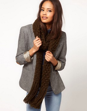 Image 1 ofASOS Textured Knit Tassel Scarf