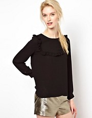 BA&SH Top with Frilled Bib Detail