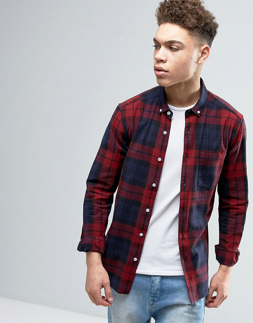 ASOS Skinny Check Shirt In Burgundy - Red