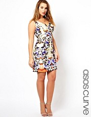 ASOS CURVE Bodycon Dress In Mirror Floral