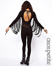 ASOS PETITE Exclusive Unitard With Fringe Detail