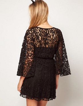 Image 2 ofASOS PETITE Lace Dress with Kimono Sleeve