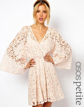 Image 1 ofASOS PETITE Lace Dress with Kimono Sleeve