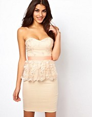Elise Ryan Embroidered Lace Peplum Dress