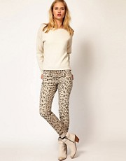 Current/ Elliot Rolled Skinny In Grey Leopard Cord