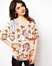 ASOS T-Shirt in Oversize Bright Floral Embellishment
