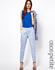 ASOS PETITE Trousers In Blue Floral Jacquard