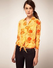 Equipment Tropical Print Tie Front Shirt
