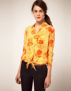 Image 1 ofEquipment Tropical Print Tie Front Shirt
