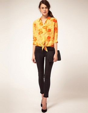 Image 4 ofEquipment Tropical Print Tie Front Shirt