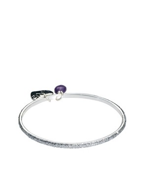 Image 2 ofSam Ubhi Silver Glitter Bangle with Amethyst &amp; Love Charm