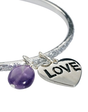 Image 4 ofSam Ubhi Silver Glitter Bangle with Amethyst &amp; Love Charm