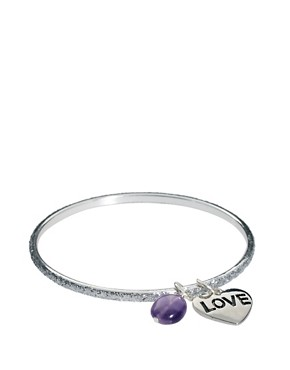 Image 1 ofSam Ubhi Silver Glitter Bangle with Amethyst &amp; Love Charm