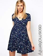 ASOS Maternity Skater Dress in Oriental Bird Print